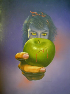 Green Apple 1980 23x17 Original Painting - Jim Warren