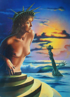 Second Coming 1981 34x28 Statue of Liberty Original Painting - Jim Warren