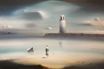 Lighthouse 1974 33x43 (Early) Original Painting - Robert Watson