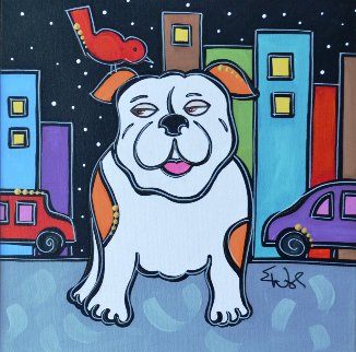 Red Bird Bulldog 2009 23x23 Original Painting - Eric Waugh