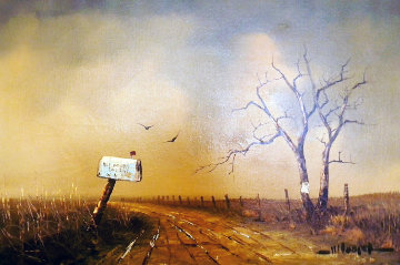 Country Road with Mailbox 1969 36x24 Original Painting - Wayne Cooper