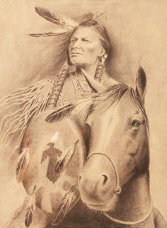 Chief on Horse Drawing 21x17 Drawing - Wayne Cooper