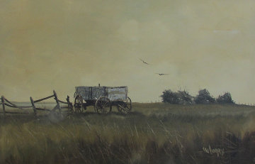 Untitled (Wagon With Fence) 1960 32x44 Original Painting - Wayne Cooper