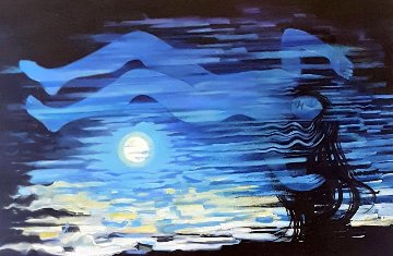 Moonrise 2019 49x73 Original Painting - Roberta Weir