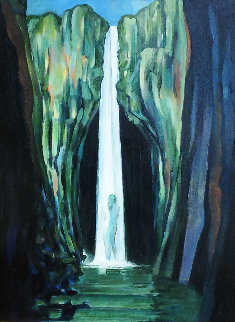 Woman in a Waterfall 2002 24x30 Original Painting - Roberta Weir
