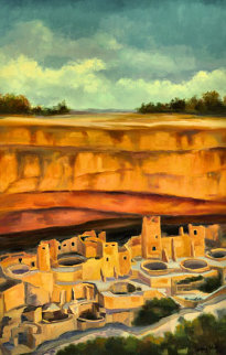 Afternoon At Chaco Canyon 2006 39x27 Original Painting - Gregory Wilhelmi