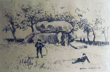 A Day in the Park 12x8 Drawing - Wilson Silsby