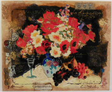 Flowers With a Glass of Wine Embellished Limited Edition Print - Tanya Wissotzky