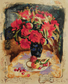 Red Bouquet Embellished Limited Edition Print - Tanya Wissotzky
