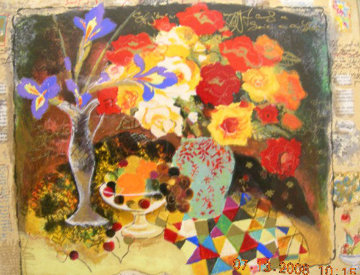 Red Flowers with Glass of Wine 2001 Limited Edition Print - Tanya Wissotzky