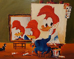 Woody's Triple Self Portrait 1979 18x22 Original Painting - Walter Lantz