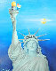Woody Woodpecker And the Statue of Liberty 1985 22x26 Original Painting - Walter Lantz