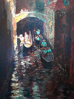 Dark Canal 2001 71x42 Original Painting - Alan Wolton