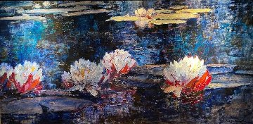 Water Lily Flowers 2000 41x68 Original Painting - Alan Wolton