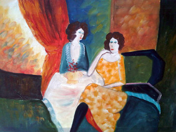 Untitled Two Seated Women 24x36 Original Painting - Barbara Wood