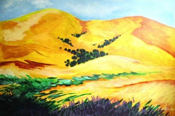 Golden Hills 24x36 Original Painting - Marjorie Wood Hamlin