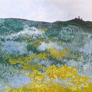 Mustard Fields 30x30 Original Painting - Marjorie Wood Hamlin