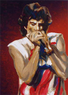 Mick With Harmonica I (Ruby) AP Limited Edition Print - Ronnie Wood (Rolling Stones)