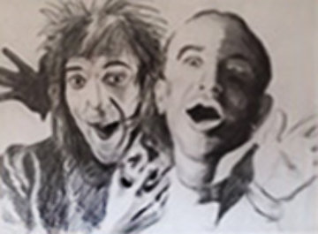 Rod And Al Drawing 46x45 Drawing - Ronnie Wood (Rolling Stones)