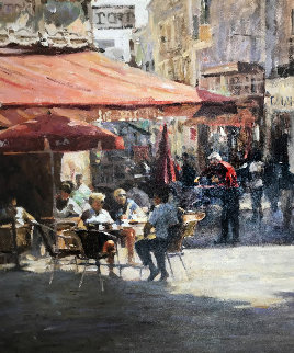 Cafe Et Pasteries 2002 37x47 Original Painting - Leonard Wren
