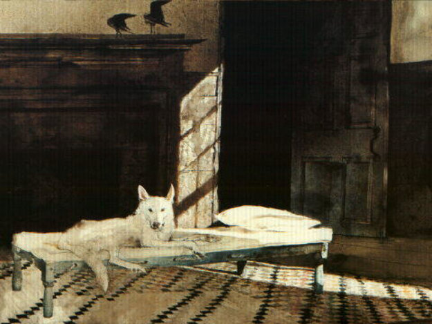 Harlequin 1997 hs by andrew wyeth for Dog painting artist