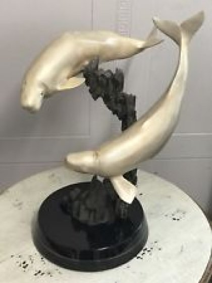 Beluga Whales Bronze Sculpture  AP 1993 18 in