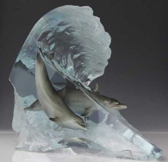 Dolphin Wave Acrylic Sculpture AP 12 in Sculpture - Robert Wyland