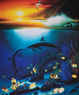 Kissing Dolphins AP 1990 Limited Edition Print - Robert Wyland
