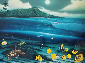 Diamond Head Moon 1996 Limited Edition Print - Robert Wyland