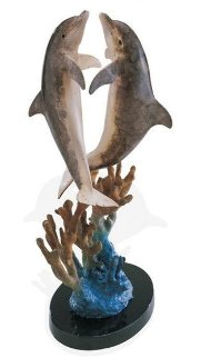 Hugging Dolphins Bronze Sculpture 1997 17 in Sculpture - Robert Wyland