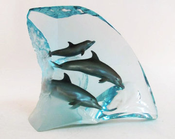 Dolphin Tribe Acrylic  Sculpture  AP 1998 14 in Sculpture - Robert Wyland
