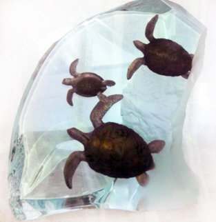Turtle Tribe Acrylic Sculpture AP 2002 14 in Sculpture - Robert Wyland