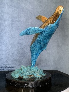 Humpback Breaching Bronze Sculpture 1991  9 in Sculpture - Robert Wyland
