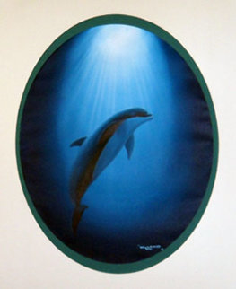 Dolphin Nation 1991 23x27 Original Painting - Robert Wyland