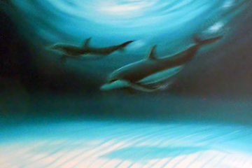 2 Dolphins 2007 35x46 Original Painting - Robert Wyland