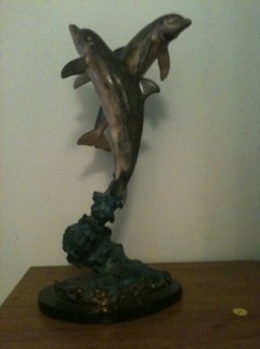 Ocean Friends Bronze Sculpture 1994 17 in Sculpture - Robert Wyland