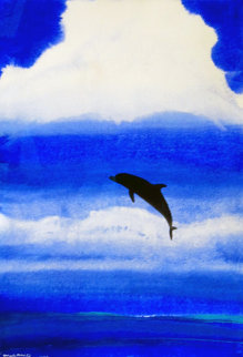 Dolphin Blue Watercolor 2004 36x28 Watercolor - Robert Wyland