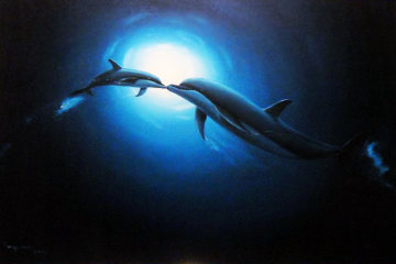Dolphin Kiss 2004 34x46 Original Painting - Robert Wyland