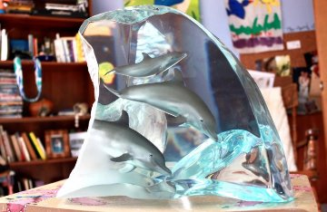 Dolphin Tribe Acrylic Sculpture 2000 Sculpture - Robert Wyland