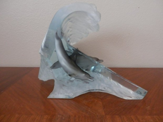 Surf Riders Acrylic and Bronze Sculpture 14 in