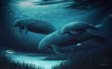 Endangered Manatees 1996 Limited Edition Print - Robert Wyland