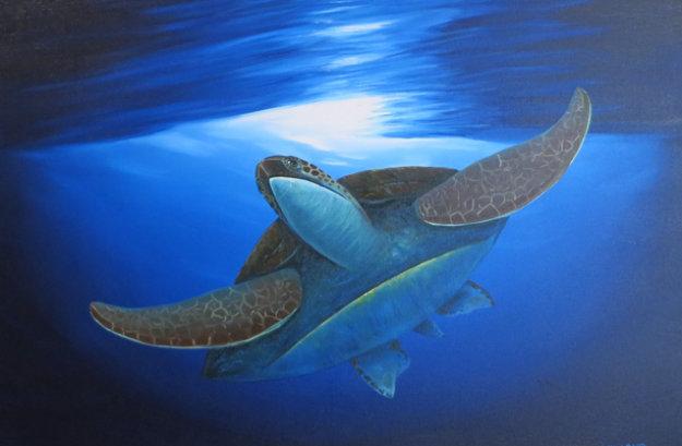 Sea Turtle Below 2008 By Robert Wyland