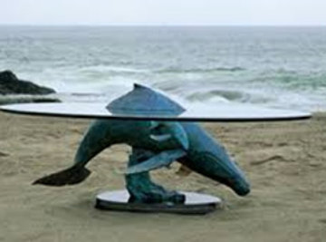 Above And Below Humpbacks Whale Bronze Coffee Table AP 1995 Sculpture - Robert Wyland