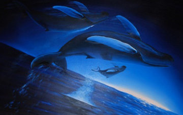 Family Voyage 2005 36x60 Original Painting - Robert Wyland
