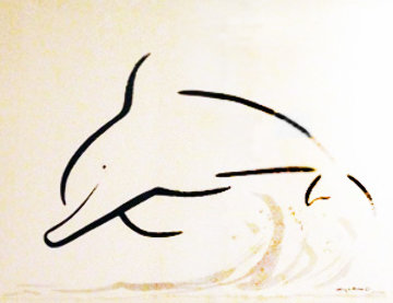 Chinese Brush - Dolphin Jump 2005 21x30 Original Painting - Robert Wyland