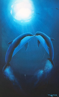 Kiss of the Sea 1997 29x39 Original Painting - Robert Wyland