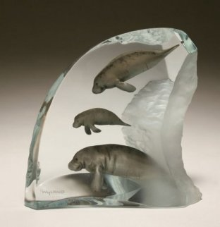 Manatee Tribe Lucite Sculpture AP 2003 Sculpture - Robert Wyland