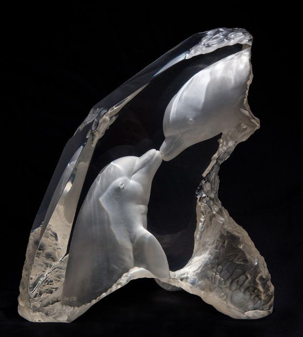Kiss in the Sea Acrylic Sculpture 1999 16 in