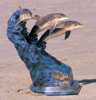 Ocean Riders Bronze Sculpture 1992 19 in  Sculpture - Robert Wyland