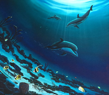 Dolphins 2004 44x44 Original Painting - Robert Wyland